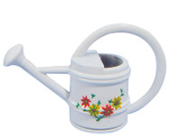 White Watering Can With Flower Design