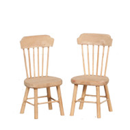 Two Plain Wood Side Chair