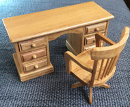 Kneehole Desk & Chair In Pine