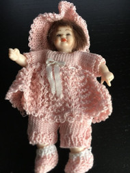 Heidi Ott Girl Doll In Handmade Knitted Peach Outfit