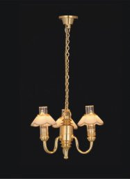 Three Up-Arm Colonial Chandelier Gold & White Shade