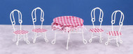 White Wire Table & Chairs with Red & White checks