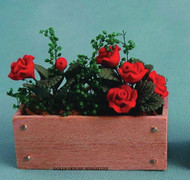Red Roses in Rectangle Wooden Window Box