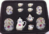 17 Piece Coffee Set With Floral Pattern