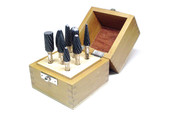 8 piece set #GF-600-5, 6mm shank, double cut.  Includes; GFA-1325, GFC-1019, GFD-1008, GFF-1325, GFC-0616, GFG-0616, GFE-1322, GFK-1306.