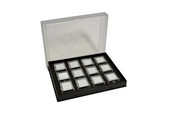 Gem Tray with 12 Boxes, Black, Item No. 61.462