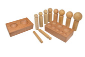Set of 10 Jumbo Wooden Dapping Punches with Double-Sided Hardwood Block, Item No. 25.121