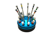 Pro 9-Piece Miniature Screwdriver Set in Rotating Stand, Item No. 52.585