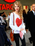 Wildfox Red Sparkle Heart Baggy Beach Jumper as seen on Taylor Swift