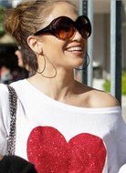 Wildfox Red Sparkle Heart Baggy Beach Jumper as seen on Jennifer Lopez