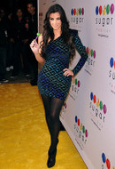 Brian Lichtenberg Geometric One Shoulder Padded Dress in Blue Glitter Geo Velvet as seen on Kim Kardashian