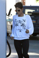 Wildfox Tiger Baggy Beach Jumper in White as seen on Halle Berry