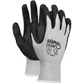 Glove, Memphis Foam Seamless Gray Nylon Shell Blue Foam Latex Dipped Palm and Fingers, 1 dozen
