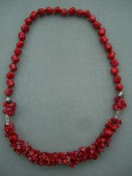 Red  Coral Stones with Beads