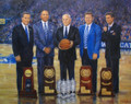 University of Kentucky Championship coaches, John Calipari (2012), Tubby Smith (1998), Adolph Rupp (1948,1949,1958), Joe B. Hall (1978) and Rick Pitino (1996) with replicas of their trophies.