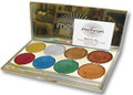 Palette contains Gold Medal, Silver Bullet, Bronze Star, Cherry Bomb, Copper Penny, Hot Rod Green, Sunset Reflection Orange, Blue Steel in an attractive silver case with mirror