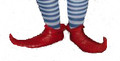 Rubber Elf Shoes in green or red are light weight and washable.