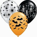 Spooky Design Assortment (Webs, Bats, Skeletons)28cm  Latex Balloon - Pack of 100 - Usually $75.20