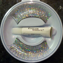Holographic Silver False Eyelashes with adhesive.