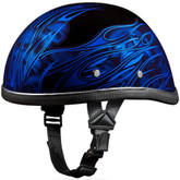 Blue Skull Flames Novelty Motorcycle Helmet by Daytona - Sizes XS S M L XL 2XL