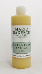 Mario Badescu Botanical Facial Gel 16oz  Non-foaming gel cleanser is deep cleansing and refreshing for oily skin. Removes make-up, dirt, and oil thoroughly without over drying skin. Exfoliating Alpha Hydroxy formula helps prevent buildup that can cause blackheads and pimples.   Instruction: Twice daily, massage in a circular motion on wet skin, avoiding eye area. Rinse with tepid water. Pat dry and follow with toner or astringent.