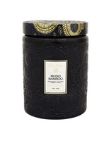 Voluspa Large Embossed Glass Jar w/ Metallic Lid Candle MOSO BAMBOO, 16 oz.