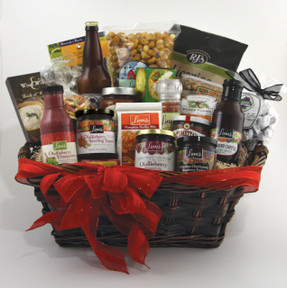 Linn's Cambrian Gourmet Foods Gift Hamper - Olallieberry Preserves Topper Glaze Soup Caramel Corn Bread Mix Cheese Licorice