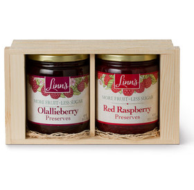 Linn's Fruit Preserves Pine Gift Box – 2-Jar Wood Box