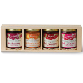 Linn's Fruit Preserves Pine Gift Box – 4-Jar Wood Box