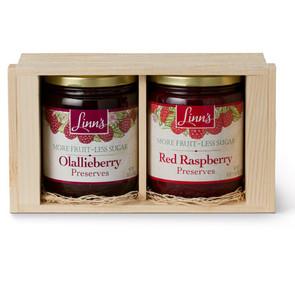 Linn's Big Gift Box of Berries Two 18 oz. Jars Fruit Preserves Wood Box