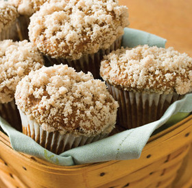 Linn's Pumpkin Muffin Mix Pumpkin Muffins with Topping Light Green Napkin Amish Country Basket