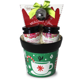 Linn's Cup of Cheer Gift Pot with Olallieberry and Red Tart Cherry Preserves and Mulling Spices with Infuser.