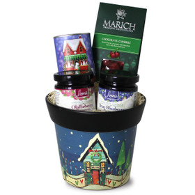 Linn's Home for the Holidays Gift Pot with Olallieberry and True Blueberry Preserves, Cocoa Tin, and Chocolate Cherries.