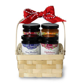 Linn's Festive Four Preserve Gift Basket with Linn's Olallieberry, True Blueberry, Triple Berry, and California Apricot Preserves.