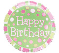 Happy Birthday Pink Green Mylar