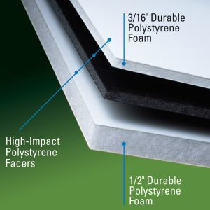 Gatorplast® is comprised of extruded polystyrene foam bonded between two layers of high-impact polystyrene cap sheets.