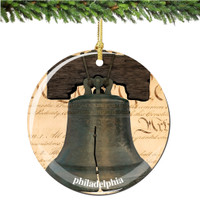 Porcelain Philadelphia Liberty Bell Christmas Ornament