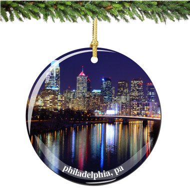 Porcelain Philadelphia Christmas Ornament