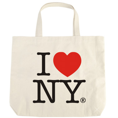 White Natural canvas I Love NY tote bag from NYC