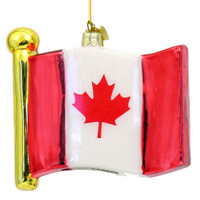 Glass Canadian Flag Christmas Ornament