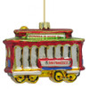 Glass San Francisco Trolley Car Christmas Ornament