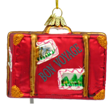 Glass Travel Suitcase Christmas Ornament