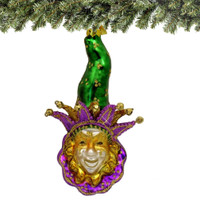 Glass Mardi Gras Christmas Ornament - Green Hat