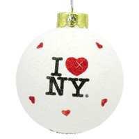 Glitter I Love NY Christmas Ornaments