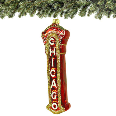 Glass Chicago Theater Marquee Christmas Ornament
