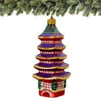 Glass Five Storied Japanese Pagoda Christmas Ornament