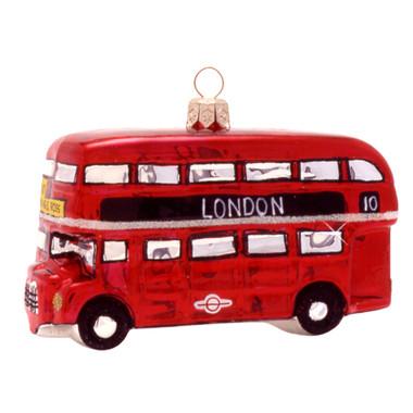 Glass London Double Decker Bus Christmas Ornament