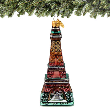 Glass Eiffel Tower Christmas Ornament
