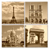 Ceramic Paris coasters featuring the Eiffel Tower, Notre Dame, Sacre-Coeur and the Arc de Triomphe