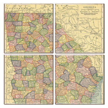 Georgia Map Coaster Set of 4